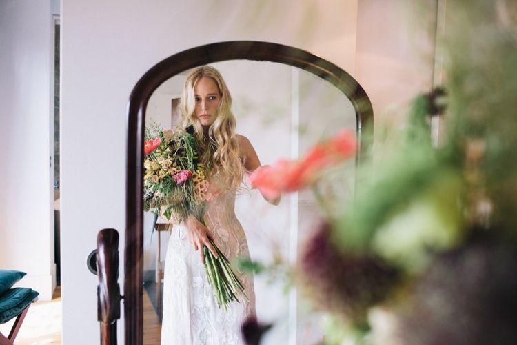 Bride In Hermione De Paula Wedding Dress // Image By Robbins Photographic