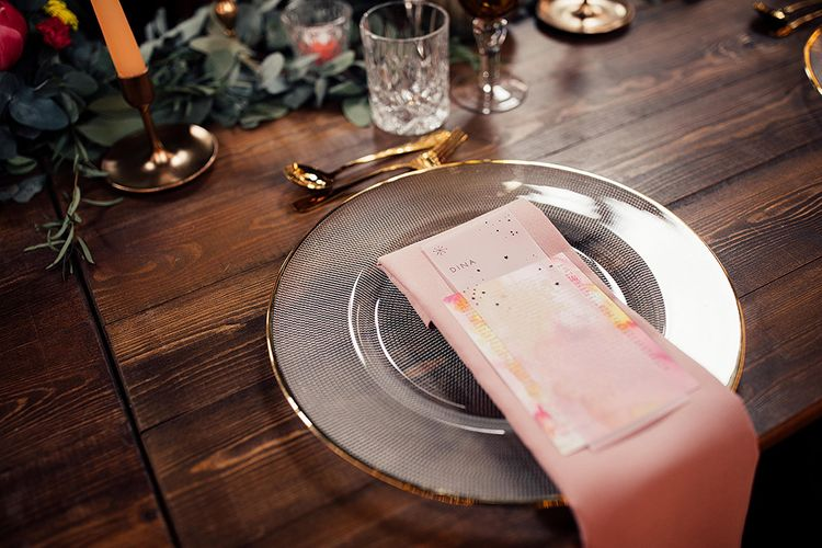 Gold Edge Glass Platter with Pink Napkin