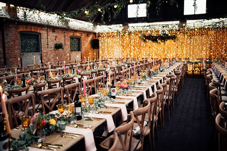 Long Wooden Tables and Chairs for Wedding Breakfast