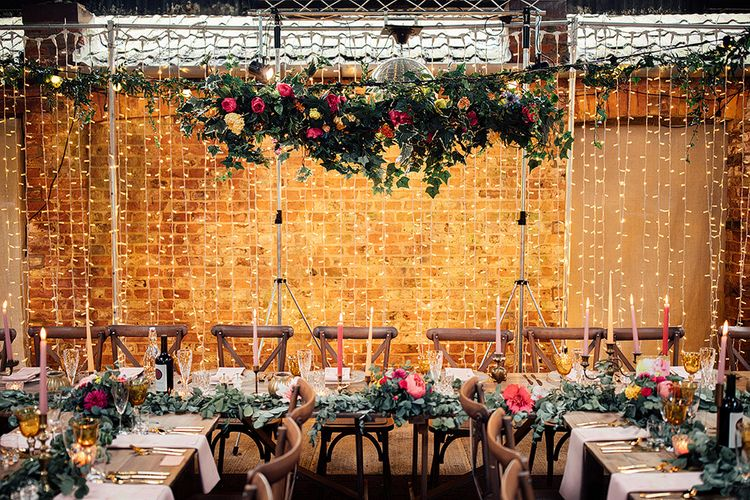 Spring Flower Installation and Fairy Light Top Table Backdrop