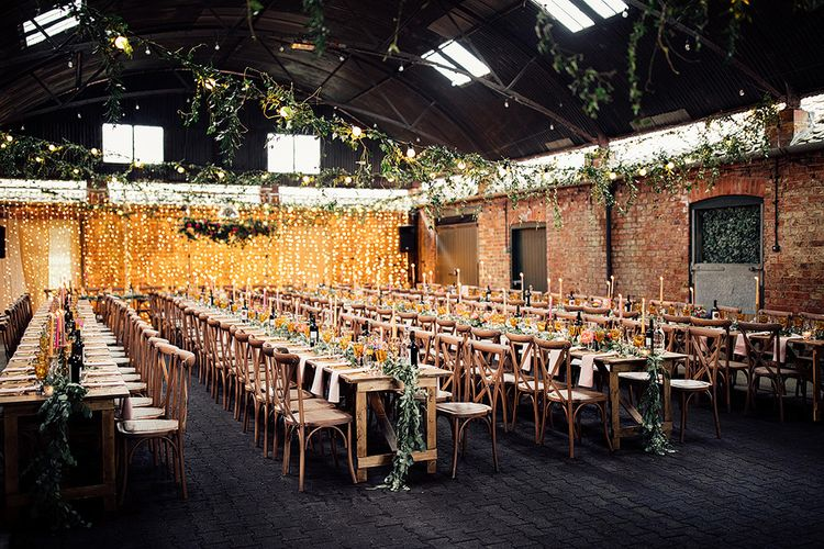 Wedding Reception at Crayke Manor, Yorkshire  with Fairy Lights Backdrop