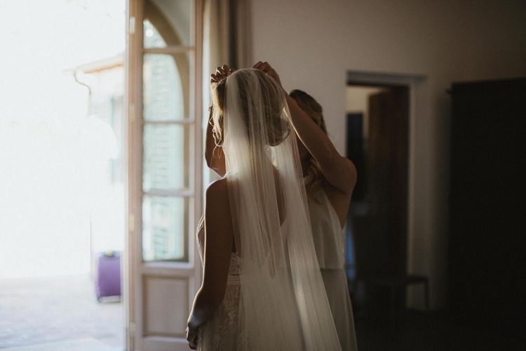 Bride In Veil With Gold Headband By Jennifer Behr // Image By James Frost Photography