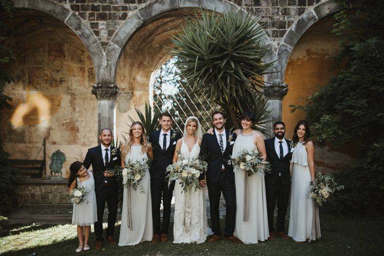Bridesmaids In Grey Halterneck Dresses // Image By James Frost Photography