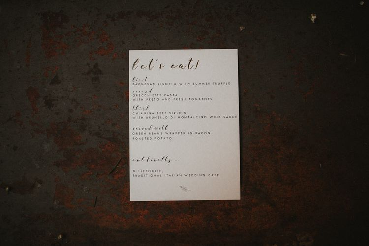 Menu Card For Wedding Reception // Image By James Frost Photography