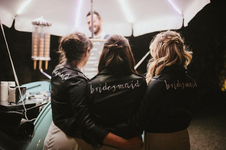 Bridesmaids In Bespoke Leather Jackets // Image By James Frost Photography
