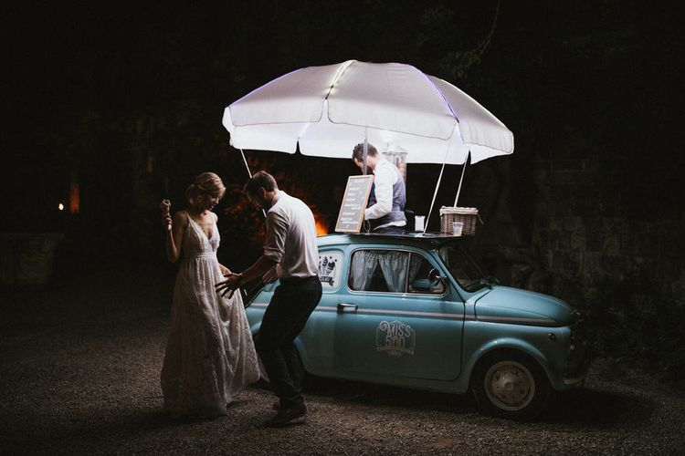 Vintage Fiat 500 Gelato Car For Wedding // Image By James Frost Photography