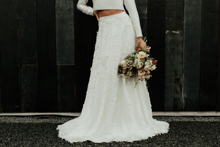 Bridal crop top with long sleeves and sequin skirt  separates
