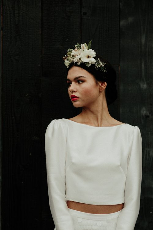 Boho bride in plain bridal crop top and flower crown