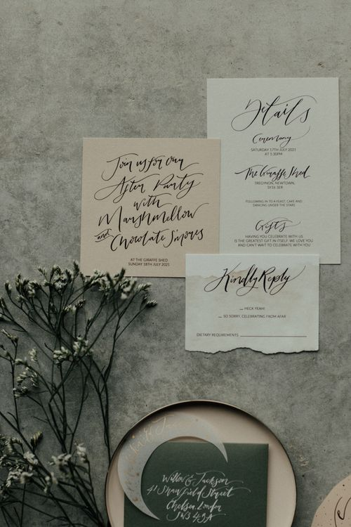 Pink and grey wedding stationery with script font
