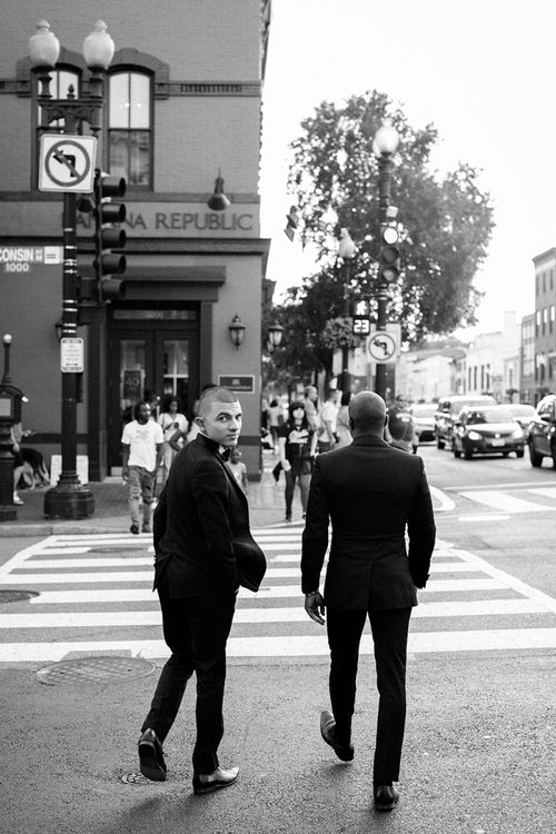 Two Grooms In Tuxedos For Engagement Shoot