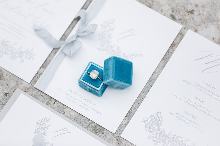 La Petit Box Blue Ring Box for Diamond Engagement Ring |  Peony & Rose Wedding Stationery | Effortless French Chic at Hale in Hampshire | Charlotte Wise Fine Art Photography