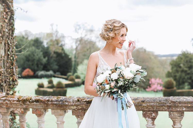 Bride in Tara Keely Bridal Gown | Rachel Simpson Wedding Shoes | Jo Hicks Flowers Pastel Bouquet | Frances  Moore MUA | Effortless French Chic at Hale in Hampshire | Charlotte Wise Fine Art Photography