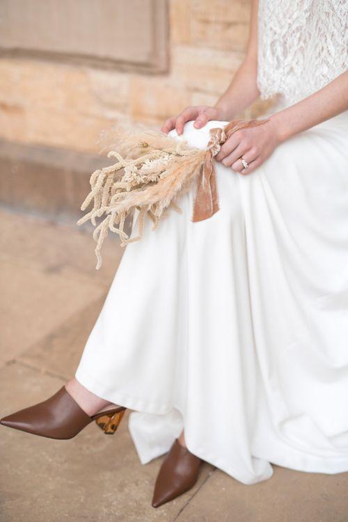 Minimalist Dried Flower Wedding Bouquet Tied in Ribbon