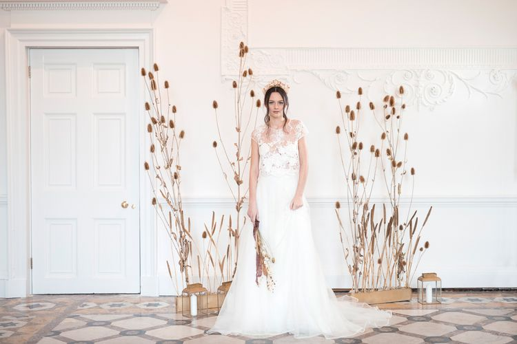Minimalist Dried Flower Arrangement and Bride in Jesus Peiro Wedding Dress