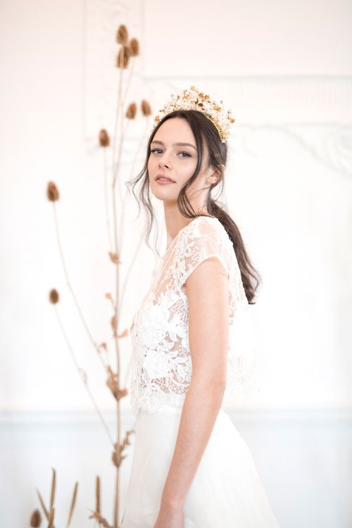 Stylish Bride in Jesus Peiro Wedding Dress with Elegant Hair and Natural Makeup