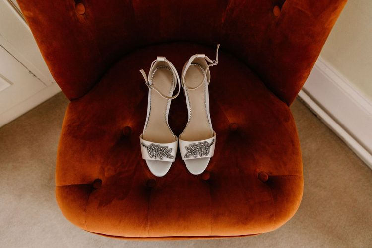Dune bridal shoes at Elsick House wedding for socially distanced wedding with Korean wedding dress