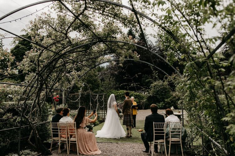 Socially distance wedding ceremony at Elsick House with Korean wedding dress