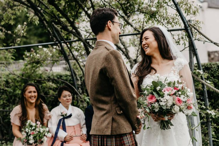 Socially distance wedding ceremony at Elsick House