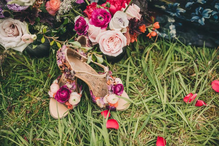 Floral T Bar Wedding Shoes