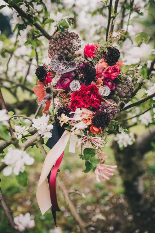 Wedding Bouquet with Deep Red, Burgundy and Pink Wedding Flowers