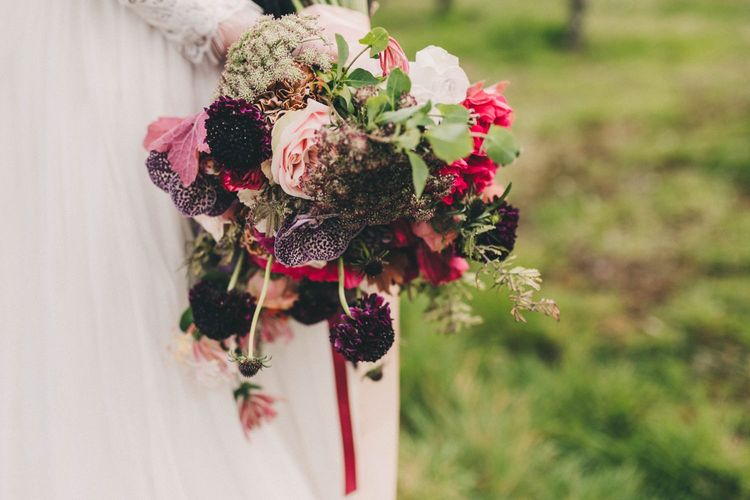 Deep Red, Burgundy and Pink  Wedding Bouquet