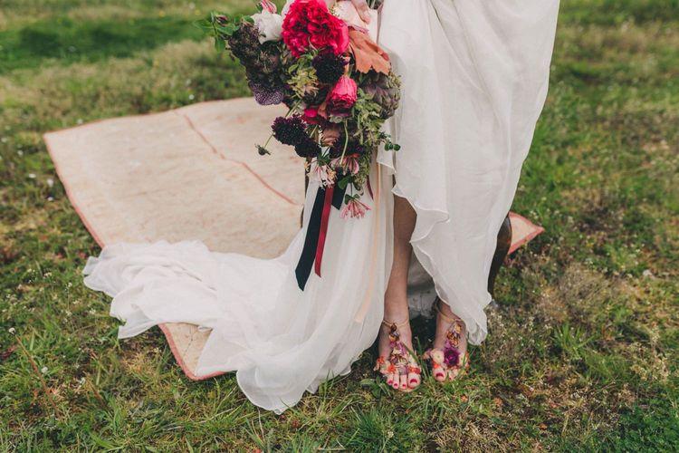 Bride Wearing Floral T-Bar Wedding Shoes