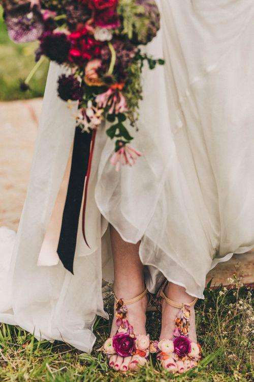 Floral T-Bar Bridal Shoes