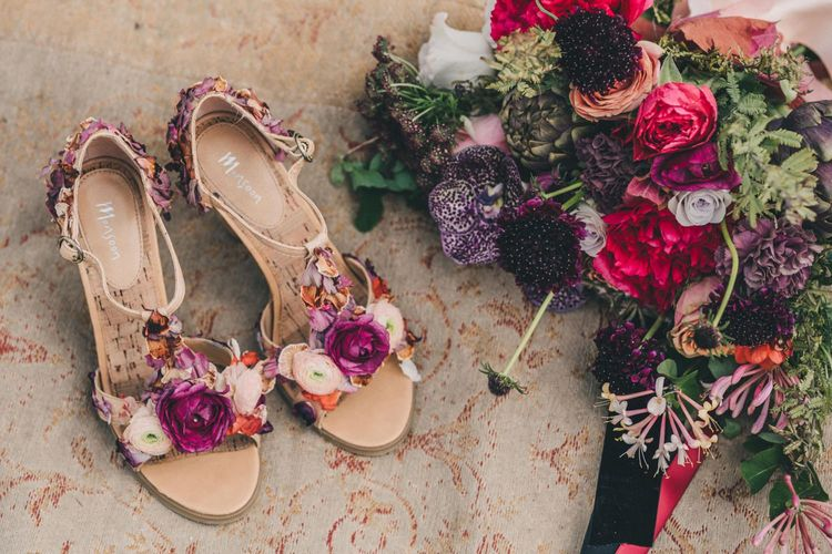 Floral T-Bar Wedding Shoes and Bridal Bouquet with Deep Burgundy, Red and Fuchsia Pink Flowers