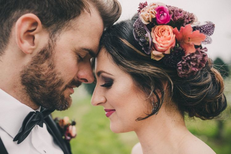 Bride with Updo and Fresh Flower in Her Hair