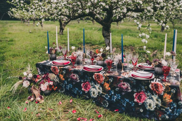 Floral Tablecloth for Wedding Breakfast Table