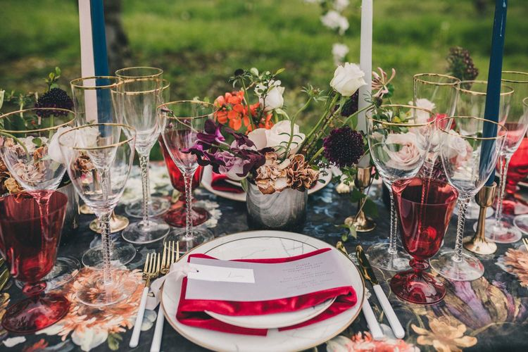 Place Setting Wedding Decor with White Cutlery, Red Napkin and Coloured Goblets