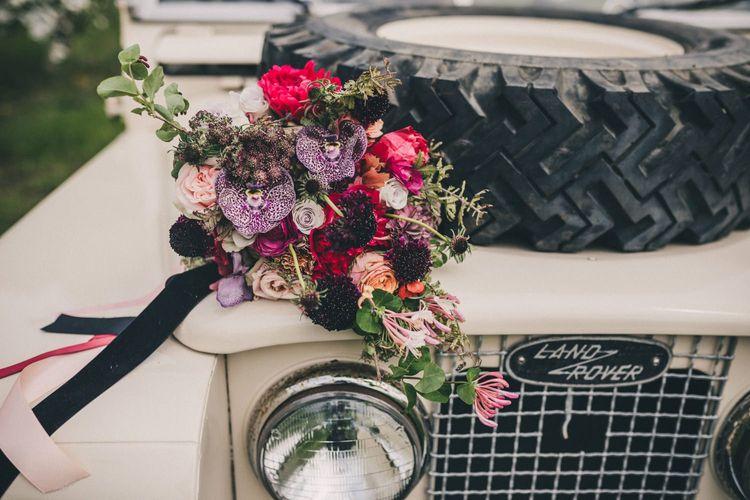 Deep Burgundy, Fuchsia Pink and Green Wedding Bouquet