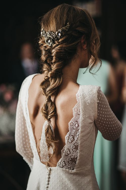 Bride With Braid // Spanish Castle Wedding With Bride In Backless Marcos Souza And Images From Lísola Photography