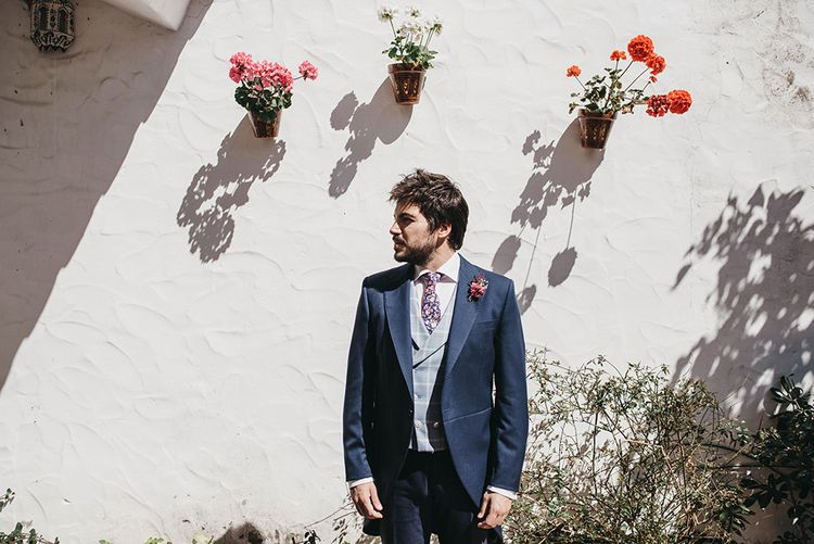 Groom In Navy // Spanish Castle Wedding With Bride In Backless Marcos Souza And Images From Lísola Photography