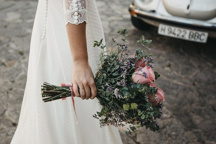 Pink Rose Wedding Bouquet // Spanish Castle Wedding With Bride In Backless Marcos Souza And Images From Lísola Photography