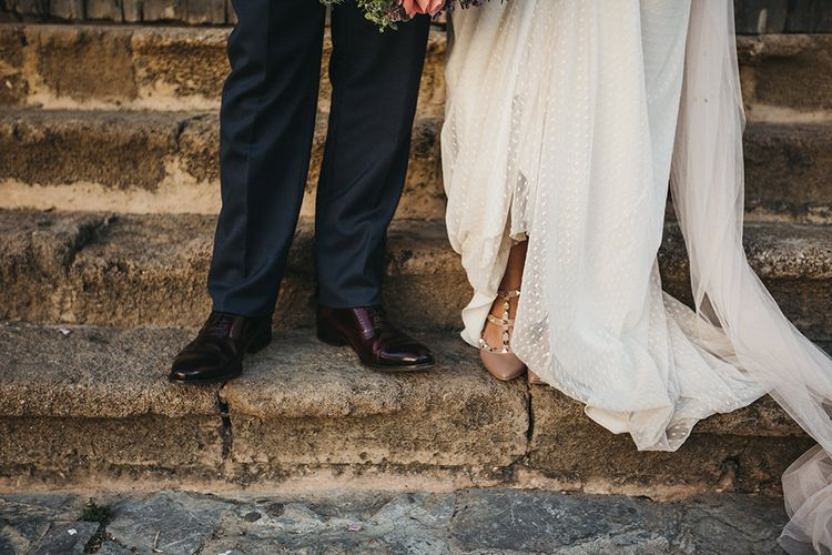 Studded Bridal Shoes // Spanish Castle Wedding With Bride In Backless Marcos Souza And Images From Lísola Photography