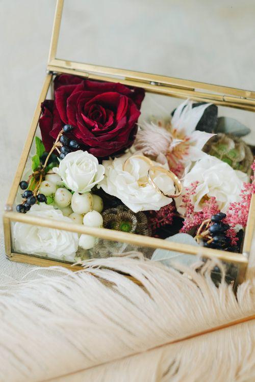Wedding Bands in Glass Box | Glamorous, Roaring Twenties, Great Gatsby Inspired Wedding at Villa Borromeo  in Italy | Matrimoni all'Italiana Photography