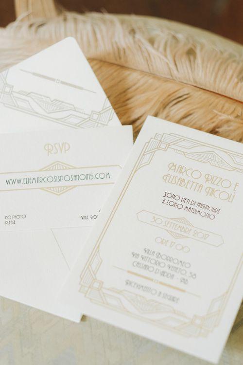 Gold & White Art Decor Wedding Stationery | Glamorous, Roaring Twenties, Great Gatsby Inspired Wedding at Villa Borromeo  in Italy | Matrimoni all'Italiana Photography
