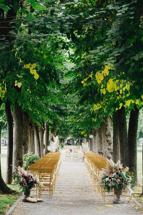 Outdoor Wedding Ceremony Aisle | Glamorous, Roaring Twenties, Great Gatsby Inspired Wedding at Villa Borromeo  in Italy | Matrimoni all'Italiana Photography