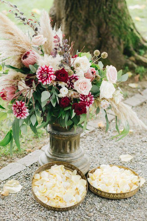 Pink & White Floral Arrangement with Proteas & Pampas Grass | Glamorous, Roaring Twenties, Great Gatsby Inspired Wedding at Villa Borromeo  in Italy | Matrimoni all'Italiana Photography