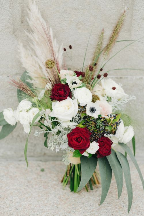 Red, White & Pink Bridal Bouquet with Roses, Anemones & Pampas Grass | Glamorous, Roaring Twenties, Great Gatsby Inspired Wedding at Villa Borromeo  in Italy | Matrimoni all'Italiana Photography