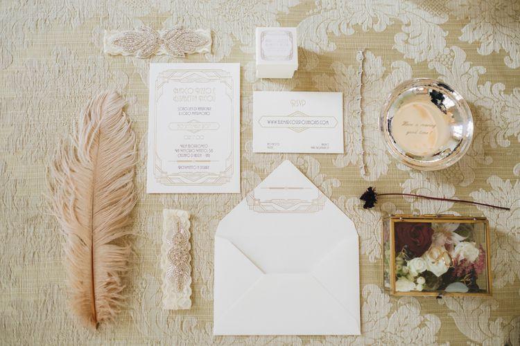 Art Decor Wedding Stationery Suite | Glamorous, Roaring Twenties, Great Gatsby Inspired Wedding at Villa Borromeo  in Italy | Matrimoni all'Italiana Photography