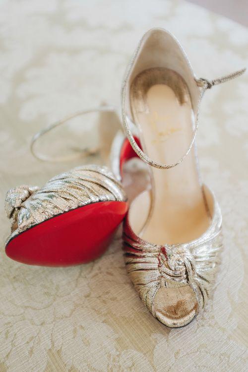 Silver Christian Louboutin Wedding Shoes | Glamorous, Roaring Twenties, Great Gatsby Inspired Wedding at Villa Borromeo  in Italy | Matrimoni all'Italiana Photography