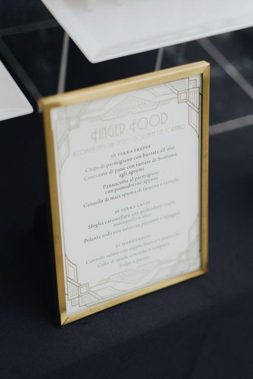 Gold Art Decor Wedding Stationery Sign | Glamorous, Roaring Twenties, Great Gatsby Inspired Wedding at Villa Borromeo  in Italy | Matrimoni all'Italiana Photography