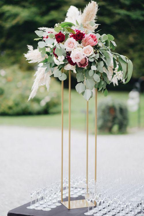 Protea, Pampas Grass & Eucalyptus Floral Arrangement | Glamorous, Roaring Twenties, Great Gatsby Inspired Wedding at Villa Borromeo  in Italy | Matrimoni all'Italiana Photography