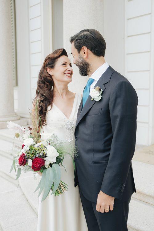 Bride in Silk Jenny Packham Gown | Groom in Navy Blue Suit | Glamorous, Roaring Twenties, Great Gatsby Inspired Wedding at Villa Borromeo  in Italy | Matrimoni all'Italiana Photography