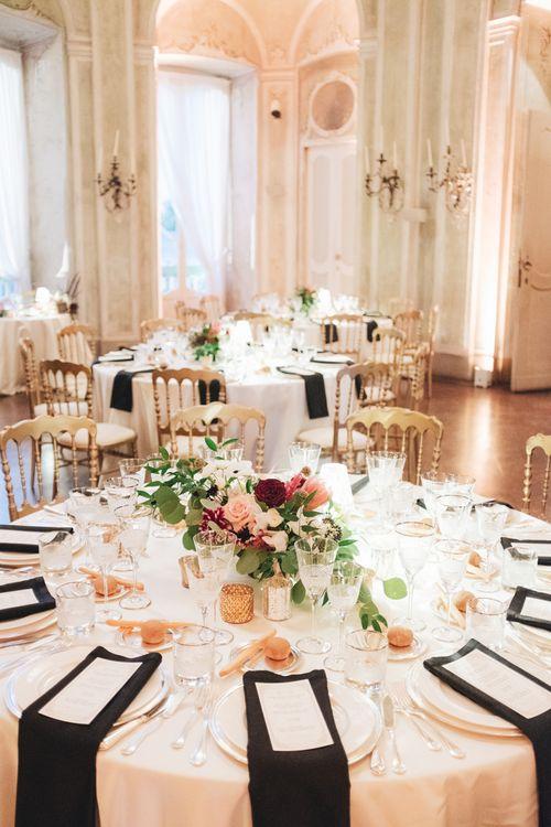 Black & Gold Wedding Reception Decor | Glamorous, Roaring Twenties, Great Gatsby Inspired Wedding at Villa Borromeo  in Italy | Matrimoni all'Italiana Photography