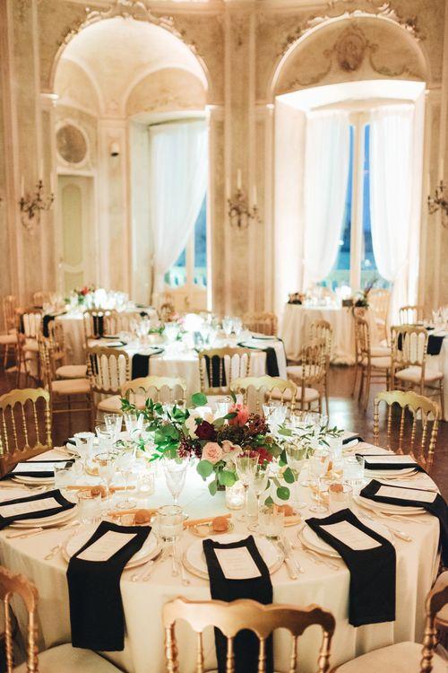 Black & Gold Table Decor | Glamorous, Roaring Twenties, Great Gatsby Inspired Wedding at Villa Borromeo  in Italy | Matrimoni all'Italiana Photography