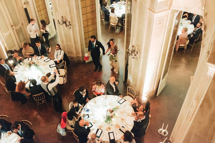 Grand Entrance | Bride in Silk Jenny Packham Gown | Groom in Navy Blue Suit | Glamorous, Roaring Twenties, Great Gatsby Inspired Wedding at Villa Borromeo  in Italy | Matrimoni all'Italiana Photography
