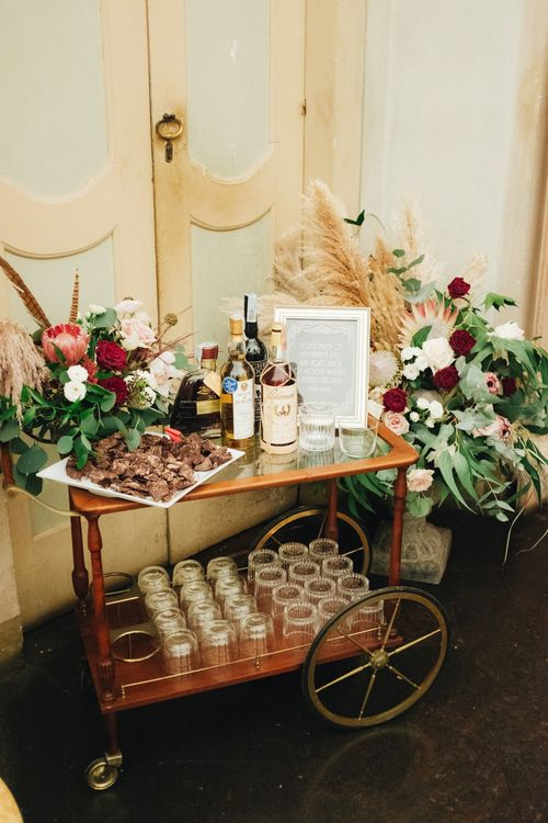 Whiskey Station on Vintage Hostess Trolley | Glamorous, Roaring Twenties, Great Gatsby Inspired Wedding at Villa Borromeo  in Italy | Matrimoni all'Italiana Photography